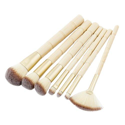 MagiDeal Kit Brosse à Maquillage avec Poignée en Bambou à 7pcs pour Poudre de Fondation Blush Contour Correcteur