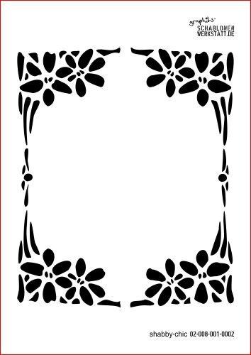 Schablone Shabby Chic Kreativbaukasten, 02-008-001-0002 , Blumenrahmen Jugendstil als Wandschablone,...