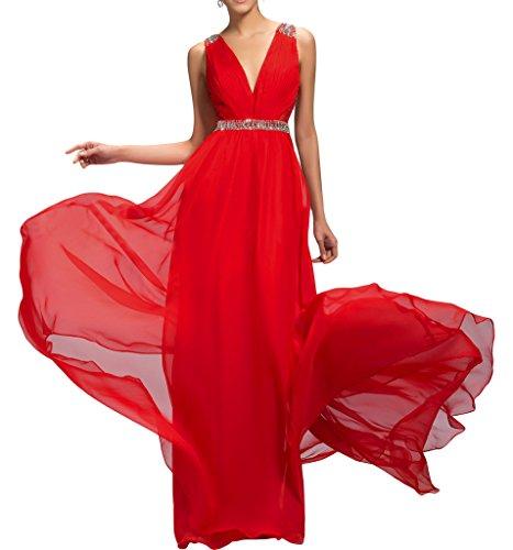 Ivydressing Damen Ein-Schulter Spitze Applikation Chiffon Promkleid Festkleid Abendkleid Rot