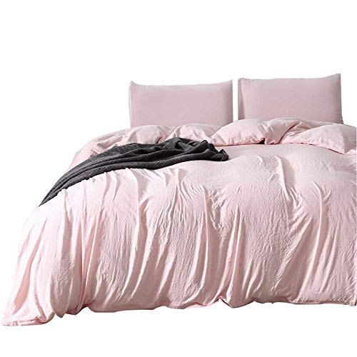 WINLIFE Massiv Tröster Betten Set Gewaschen Mikrofaser Simple Reversible Bettbezug Modern Twin Rose -
