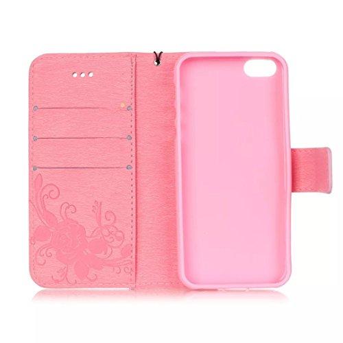 JIALUN-étui pour téléphone Avec la fente de carte, Lanyard, pression Belle patte Fashion Open Cell Phone Shell pour IPhone 5S SE ( Color : Rose , Size : IPhone 5S SE ) Pink