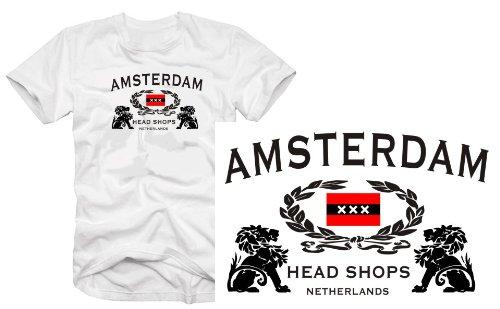 Coole Fun T-Shirts AMSTERDAM head shop T-SHIRT, weiss, Grösse: XXXL