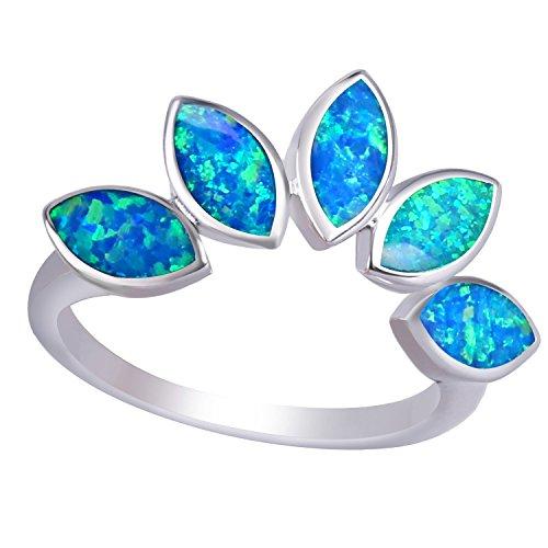 KELITCH Ringe für Damen Mädchen Blatt Blau Opal Stapelringe 925 Sterling Silber Überzogene Frauen Schmuck Größe 6 (52mm)
