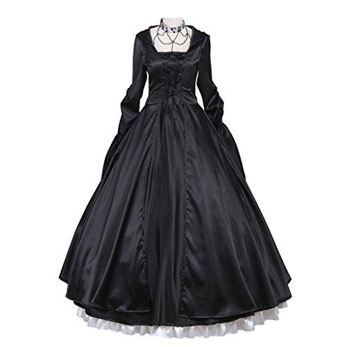 Cosplayitem Damen Mittelalterlichen Kleid Gothic viktorianischen Kostüm Abendkleid Maskerade Kleider Langarm Königin Prinzessin (Kostüme Maid Custom)