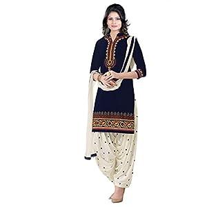 Soru Fashion Women's Cotton Embroidered Salwar Suit Dupatta Material (2004_Multi Color)