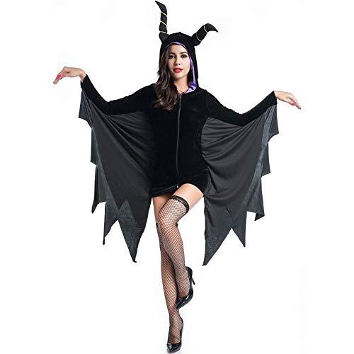 Tdhappy Halloween - Kostüme Rollenspiele Teufel Hexen Hornochse Bat Spiel - Uniform Kostümfest,Schwarz,L