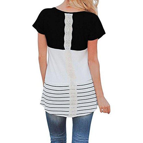 qiansu Nursing Shirts Schwangere Damen Lace Tee Top Umstandsmode Stillen T-Shirt Schwarz S