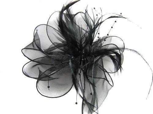 Nero Fiore, Piume, Perle clip per capelli Fascinator Ladys Ascot Races matrimonio