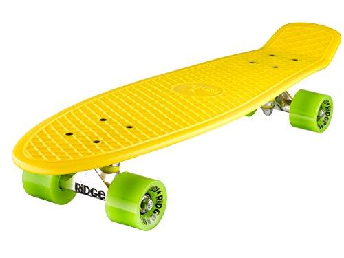 Ridge Skateboard Big Brother Nickel 69 cm Mini Cruiser, gelb/grün - Razor Trick Räder Roller