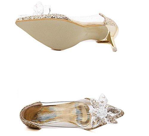 Onfly Pumpe Transparent Kätzchen Ferse Sandalen Damen Charmant Spitze Diamant-Blume Aschenputtel Kristall Schuhe Stilett Abendschuhe Hochzeit Schuhe Gold
