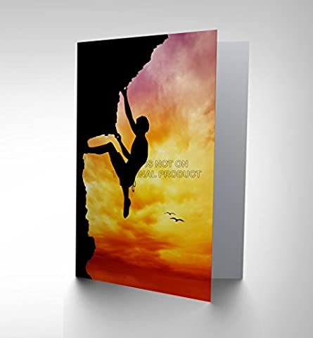 SPORT SUNSET FREE CLIMBER SILHOUETTE BLANK GREETINGS BIRTHDAY CARD CP328