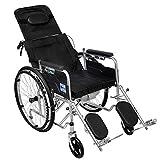 Carrozzina Reclinabile Standard con Poggiatesta Rimovibile, Poggiagambe Rialzato, Sedia A Rotelle con Cassettone per Disabili