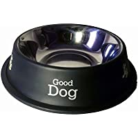 PET CLUB51 Stainless Steel Dog Food Bowl (Black, 460 ml)