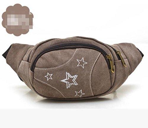 ZYT Sommer-Stile gedruckt Leinwand Brieftasche Taschen Brust Pack Herren Sport und Freizeit Brown