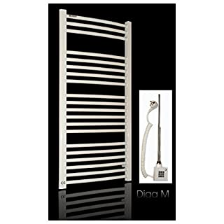White Curved Electric Heated Towel Rail Radiator with Heating Element for Heat Cartridge KTX-2-10002and Refill with White Mount * Choice of Sizes * White Heated Towel Rail