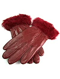 8912 LADIES FUR TRIMMED LEATHER GLOVES IN BURGUNDY