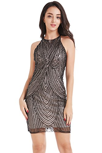 Coucoland Damen Cocktail Party Kleider Bodycon Sexy Kurz Club Abendkleid Retro Stil Pailletten Mini Kleid (Schwarz Beige, L)