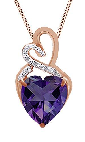 AFFY Hombre Unisex Mujer  Plata de ley (925/1000)  Plata chapada en oro rosa de 18 quilates heart shape round shape   purpura circonita alejandrita