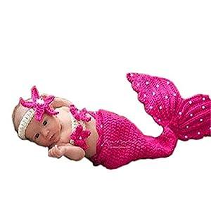 NO BRAND Disfraz de Accesorios de fotografía para recién na Traje de bebé Prop Fotografía de bebé recién Nacido Prop Crochet Diadema Sujetador Cola Rosa/Rosa Rojo Cómodo (Color : Red) 14