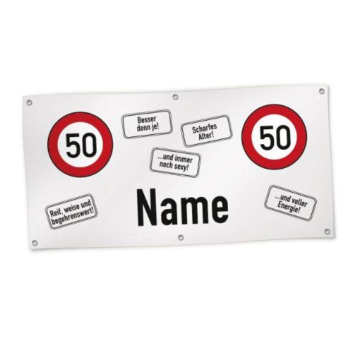 Banner zum 50. Geburtstag mit Wunschnamen 0,80 m x 1,60 m (Kunststoffplane) ()