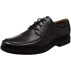 Clarks Un Aldric Park, Zapatos de Cordones Derby para Hombre, Negro (Black Leather), 44 EU