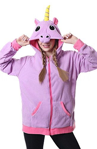 Auspicious beginning Damen cute Unicorn Hooded Sweatshirt Langarm Zipper Jacken