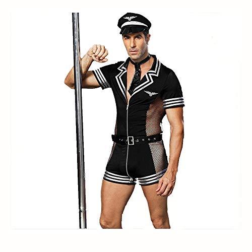 Herren Sexy Polizist Uniform Cosplay Kostüm, Halloween Cop Uniform Outfit mit Gürtel und Mesh, Maskerade (Cops Kostüme Halloween)