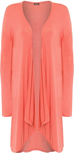 WearAll - Grandes tailles Longue Waterfall Cardigan Haut - Hauts - Femmes - Grande Tailles - 44-54 Corail