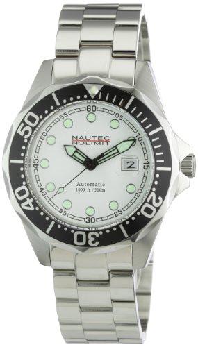 Nautec No Limit Deep Sea Bravo - Reloj analógico de caballero automático con correa de acero inoxidable plateada