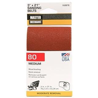 ali industries 3146003 Master Mechanic, 2 Pack, 3 Inch x 21 Inch, 80 Grit, Medium, Sanding Belt