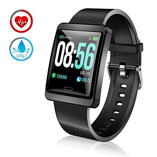 ZKCREATION Fitness Tracker Smartwatch con Cardiofrequenzimetro Pedometro Calorie Monitoraggio del Sonno IP67 Impermeabile Orologio Bluetooth per Android e iOS (Nero)