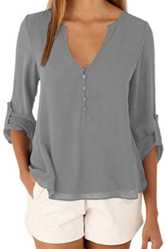 La Femme A Été Adaptée En V En T - Shirt Blouse En Mousseline Grey