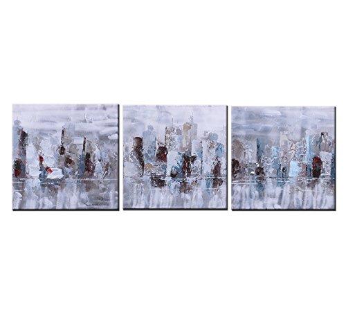 Sumeru Abstrakte Malerei Leinwand Wand Art Kunstwerke für Home Living Schlafzimmer Büro Dekoration, 3Stück, 30,5x 30,5cm, gedehnt und gerahmt