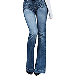 RISTHY Pantalones Vaqueros Acampanados Mujeres Jeans Pantalones Lápiz Largos Pantalones de Campana Elástico con Bolsillos Bootcut Pantalones Elegante