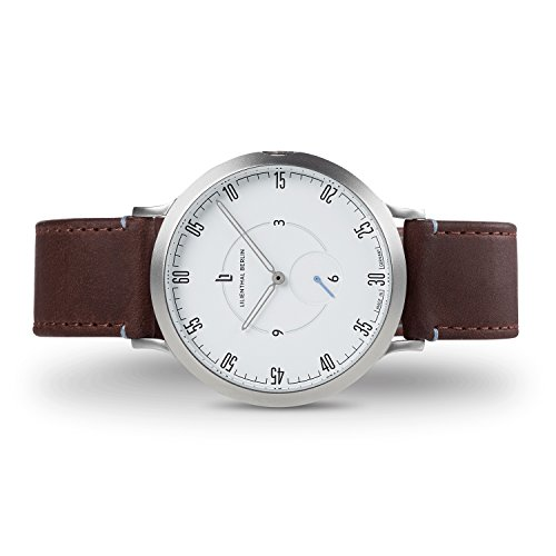 Lilienthal Berlin Watch – Made in Germany – Designed in Berlin. Model L1 with Stainless Steel Case, brown Leather Band & White Dial