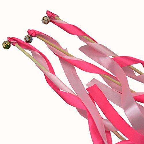 Hangnuo Glücksstäbe / Zaubestäbe mit Bändern für Hochzeit, Weihnachten, Geburtstag, Party, Seide, Spitzenband, mit Glocken, 30Stück Rose&Pink