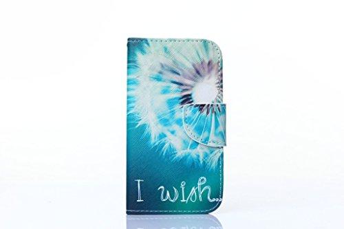Apple iPhone 44S Custodia, con protezione schermo,], nanxi Colorful Nizza Pattern PU portafoglio in pelle con porta carte di credito slot Smart Standing stile ultra sottile custodia protettiva cover Dandelion