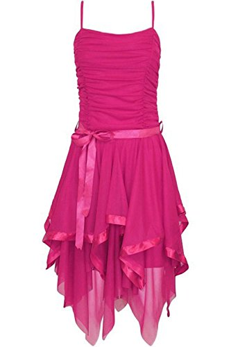 Islander Fashions Damen Chiffon Asymmetrische Prom Wedding Dress Damen Riemchen Abend Party Kleid Cerise Medium / (Cerise Kostüm)