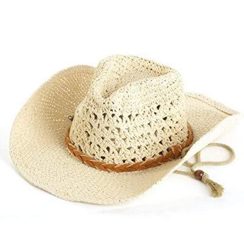 Sanjiayi 100% Handarbeit Sommer Frauen männer Western Stroh cowboyhut für Herren breiter krempe Boater Jazz hüte Godfather Sombrero Cap,beige (Herren-stroh-boater Hut)