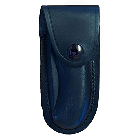 Shaped Leather Folding Knife Pouch Large Black up to 13cm Closed Length