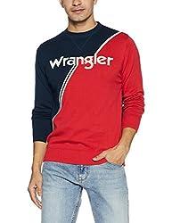Wrangler Mens Cotton Sweater (8907649214558_W248055DH6GA_XXL_Navy + Maroon)