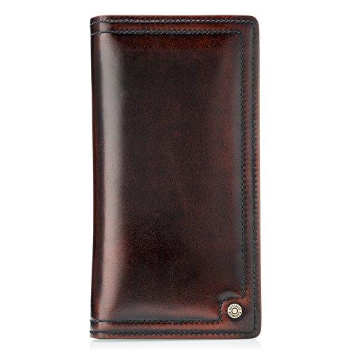 Contatti in vera pelle da uomo con cerniera intorno frizione portafoglio lungo Titolare della carta fermasoldi borsa organizer rosso-marrone
