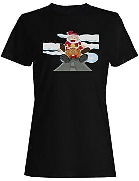 Nuevo Santa Divertido En El Reno camiseta de las mujeres l538f