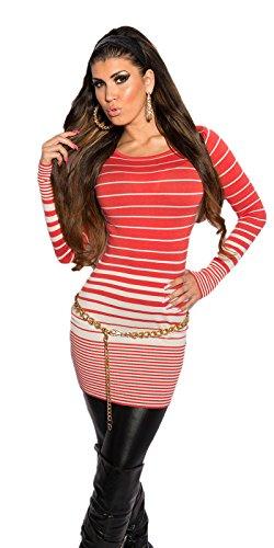Koucla Damen Feinstrick Pullover Mini Kleid mit Reißverschluss gestreift, coral