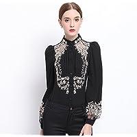 Lady 's Fashion Lounge abrigo manga larga camisa abrigo ol,Black,S