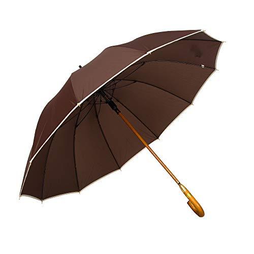 AP® - Automatik Regenschirm windfest für Damen und Herren - eleganter Stock-Schirm aus Holz - 12 fache Verstrebung Carbon Fiber - groß stabil & windresistent sturmfest - 115cm Ø (Braun)