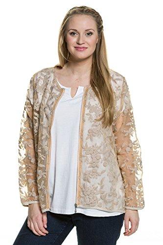 Ulla Popken Femme Grandes tailles Veste tulle transparent broderie manches longues zip 710314 bois clair
