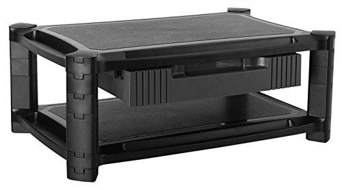 RICOO Monitorständer Höhenverstellbar WM3-L Universal Monitorstandfuß Bildschirmständer Monitor Erhöhung Modular Podest Organizer mit Schublade Standfuß 33-84cm 13-32 Zoll Kunststoff Schwarz -