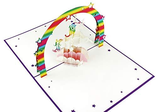 3D Geburtstagskarte, Einhorn mit Regenbogen - 2