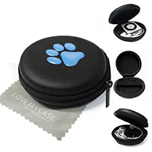 LOVE MY CASE / BLUE PAW PRINT MP3 Player Case, cover, shell - Clamshell Style with Zip Enclosure For Apple iPod Shuffle 2nd / 3rd / 4th Generation / with Love my Case Cleaning cloth